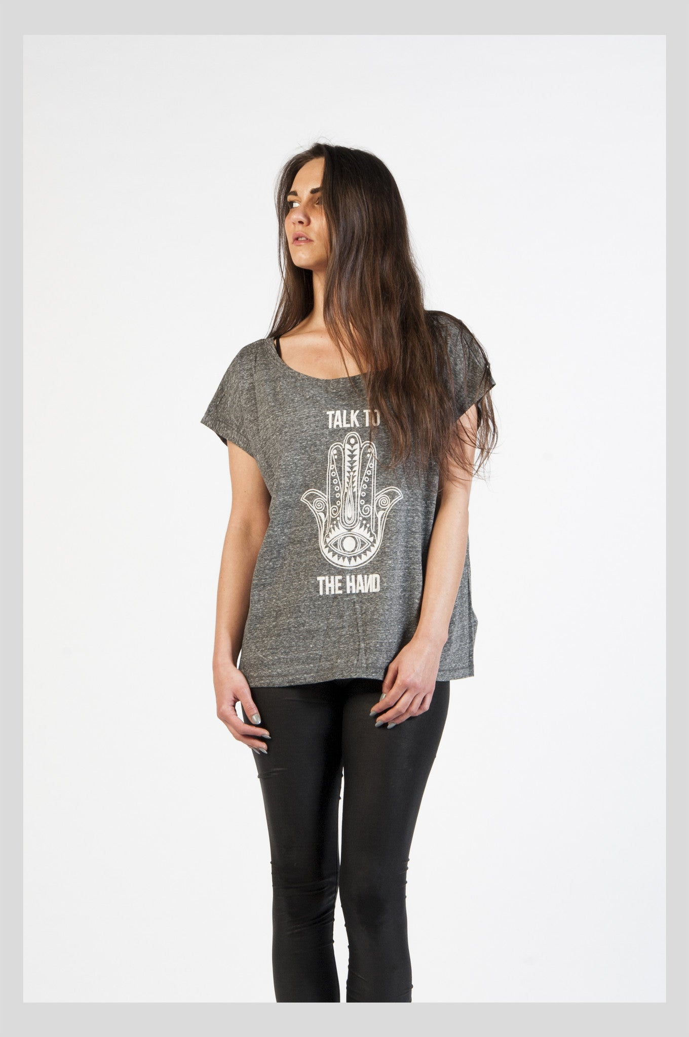 Speckled Grey Slogan Cropped Tee - LOW STOCK!