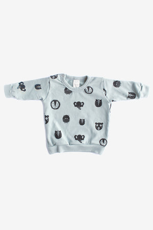 Animals Organic Sweatshirt - Storm with Charcoal