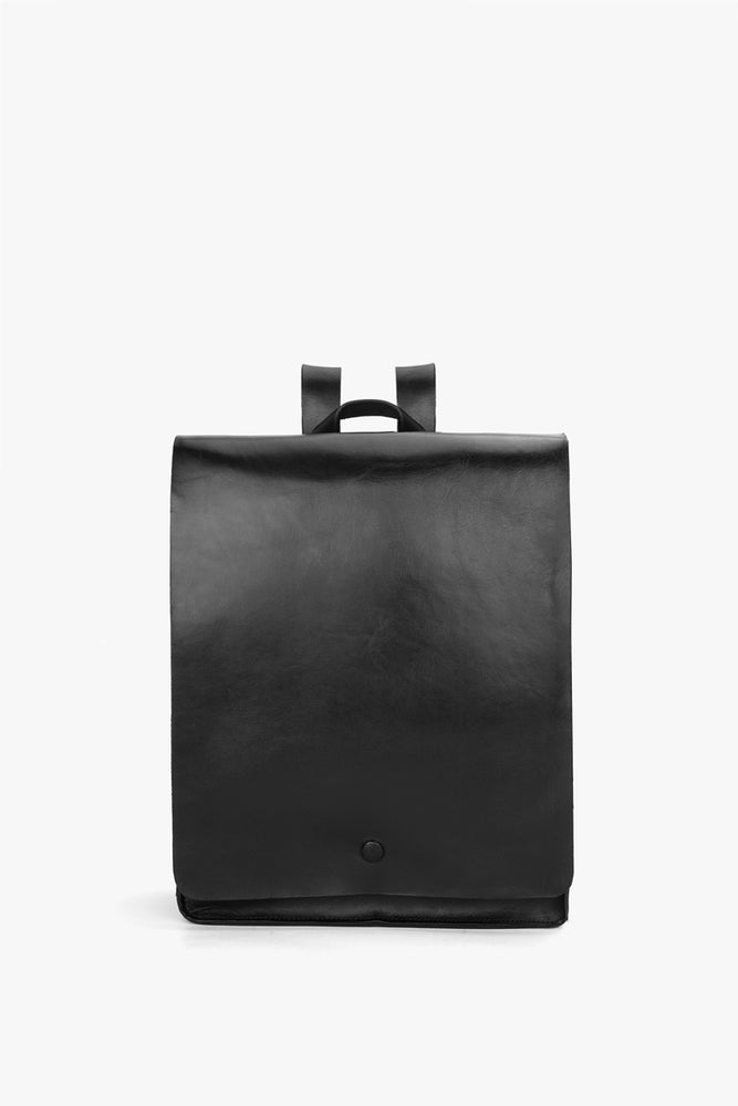 Leather Flap Backpack - Black