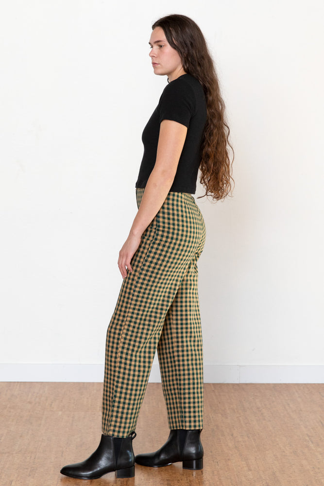 Silk Fly Front Pants - Gingham