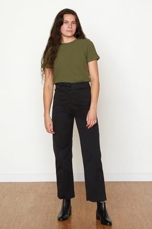 Cotton Fly Front Pants - Black