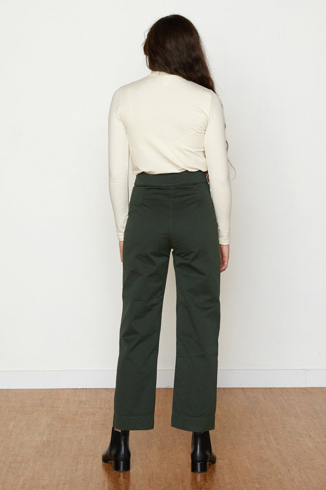 Cotton Fly Front Pants - Hunter