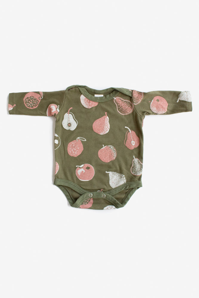 Apples and Pears Long Sleeve Onesie - Avocado