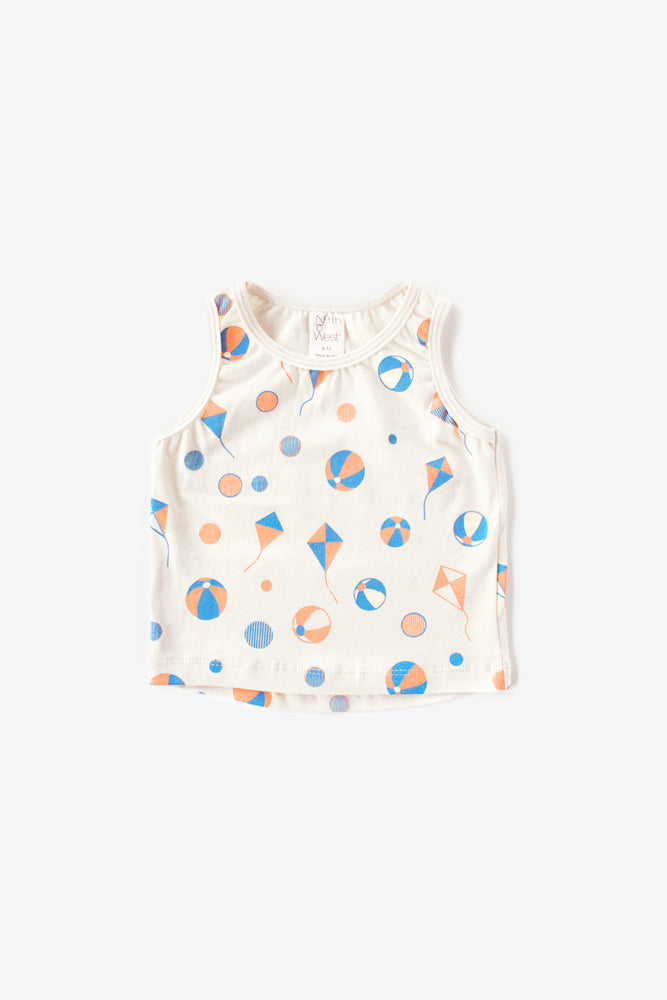 Beach Balls Organic Tank Top - Natural with Riviera
