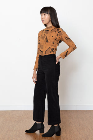 Monica Corduroy High Rise Pant - Black