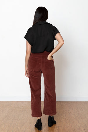 Monica Corduroy High Rise Pant - Wine