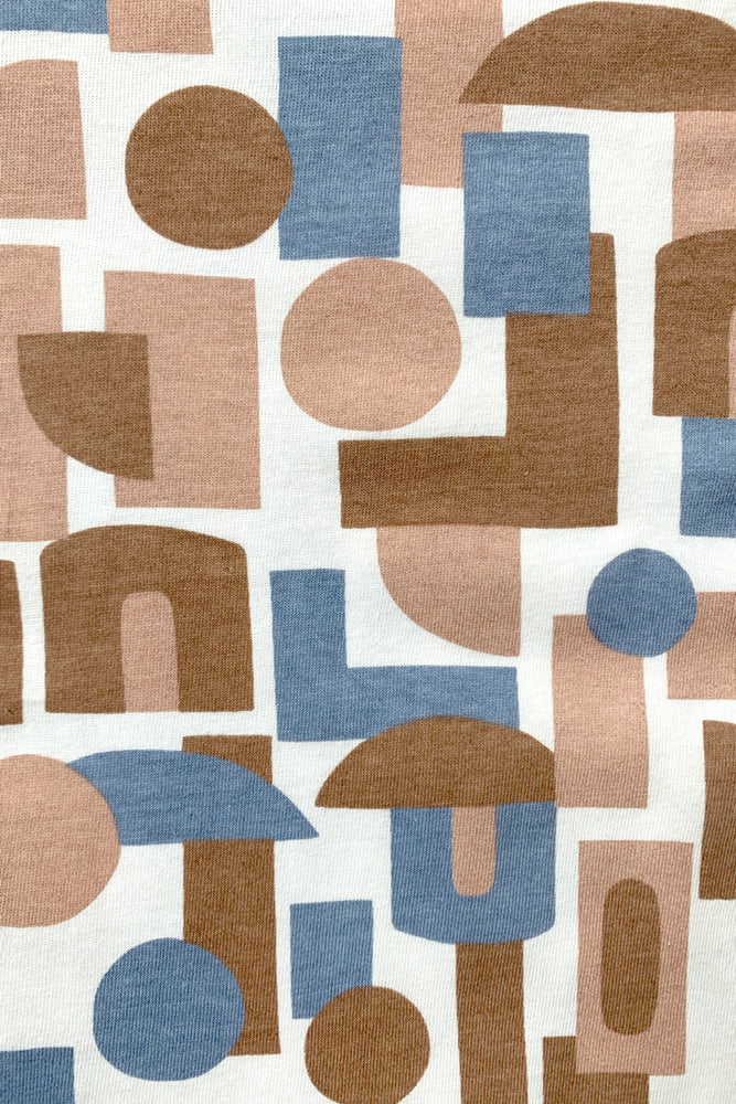Decades Cotton Jersey - Natural with Toffee, Slate and Desert Sand