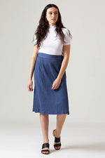 High Slit Skirt - Crinkle Denim