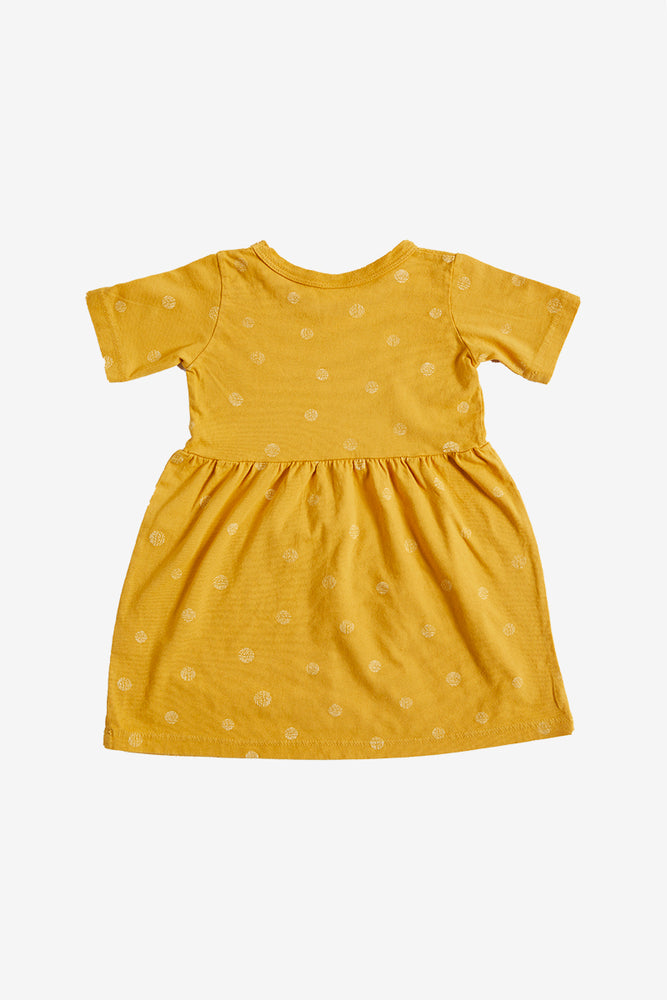 Dots Organic Gathered Dress - Golden