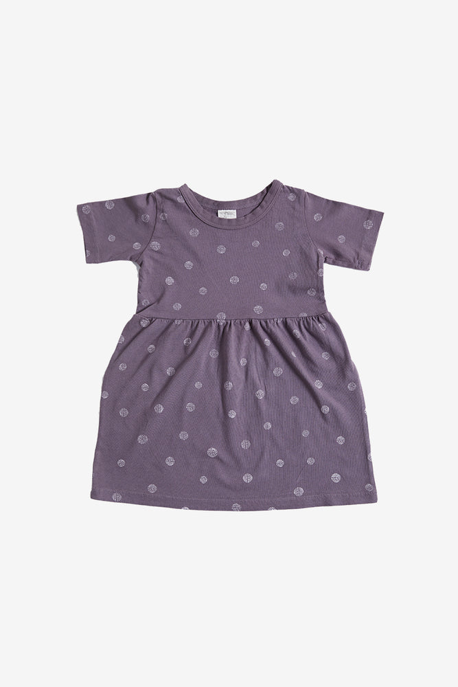 Dots Organic Gathered Dress - Moonscape