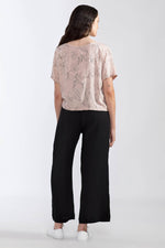 Flowers Cropped Blouse - Dusty Rose