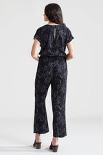 Flowers Deep V Jumpsuit - Black
