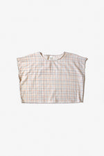 Betsy Blouse  - Fog - Color Grid Print