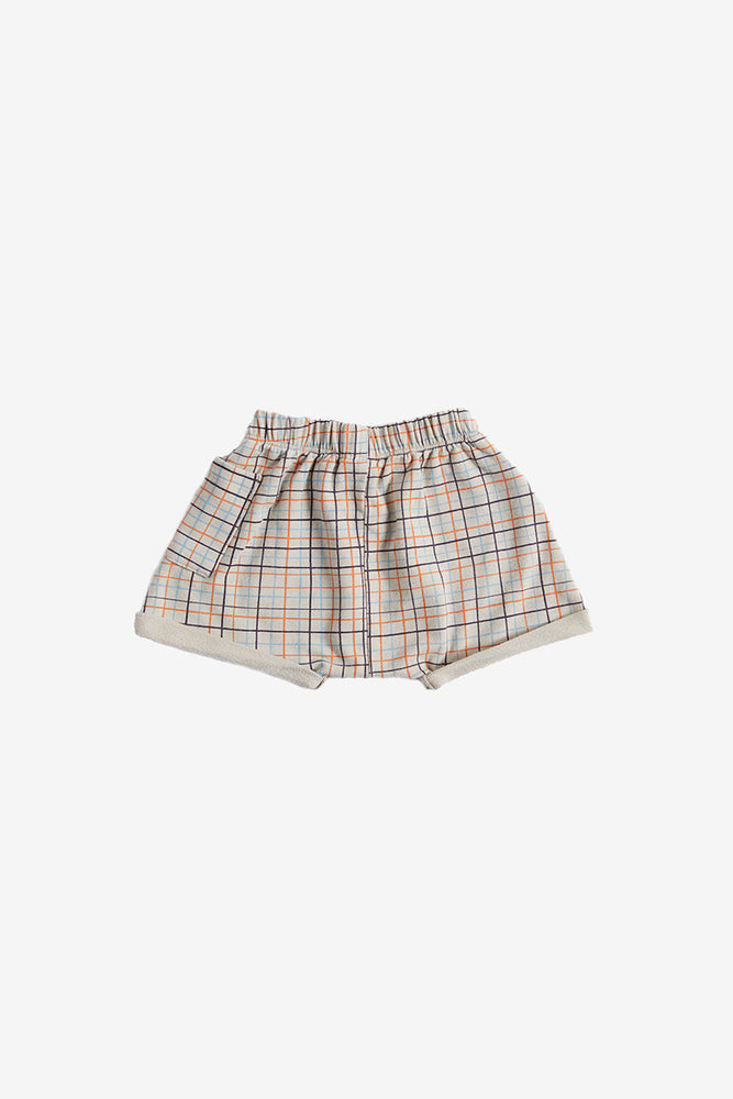 Grid Organic Sweat Shorts - Fog
