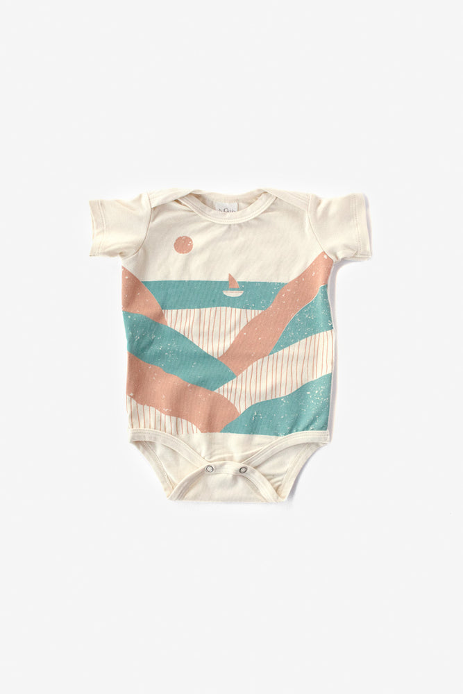 Seaside Organic Onesie - Natural with Aqua