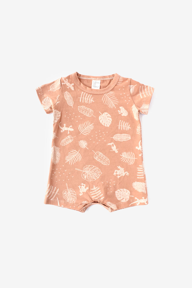 Jungle Organic Tee Romper - Almond with Natural