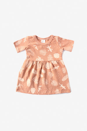 Jungle Organic Gathered Dress - Almond with Natural