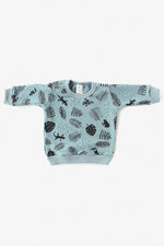 Jungle Organic Crew Sweatshirt - Aqua with Black