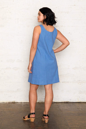 Linen Reversible Dress - Riviera