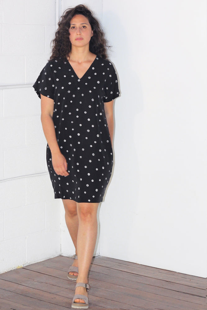 Carol Dress - Black - Dots Print
