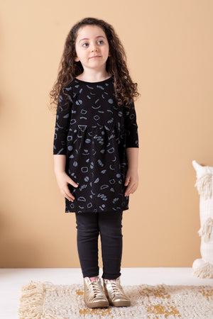 Squiggles Organic Gathered Dress - Black