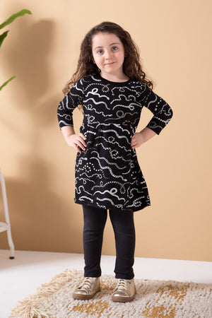 Snake Rainbow Organic Gathered Dress - Black