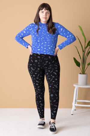 Morgan Mock Neck - Azure - Squiggles Print