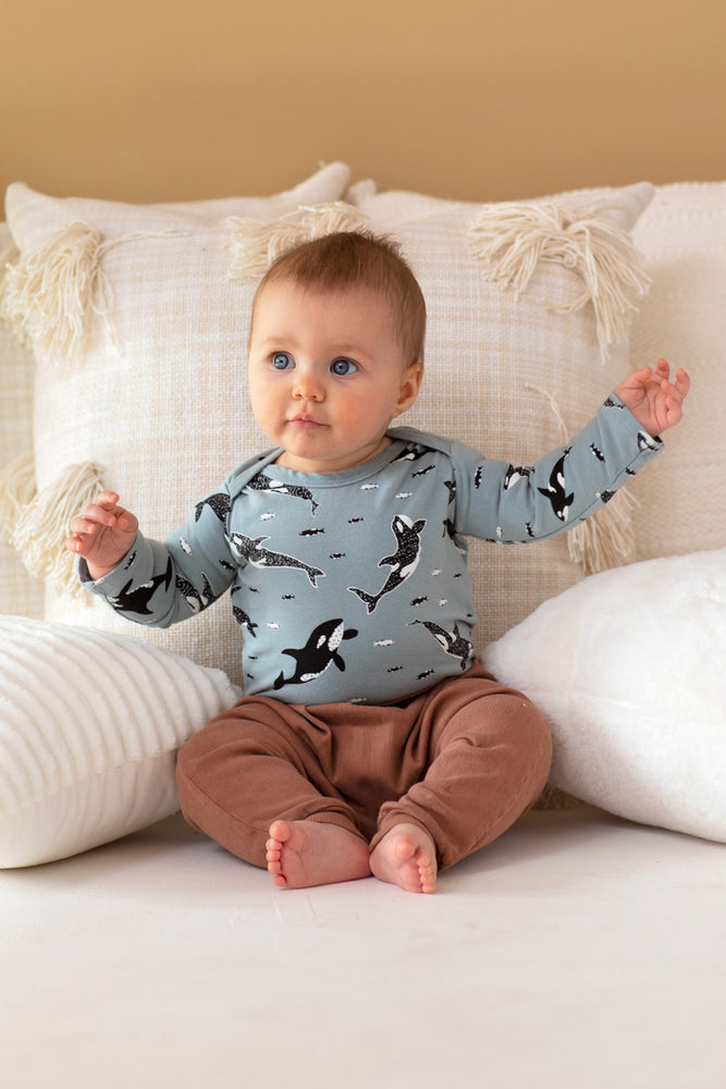 Orcas Organic Long Sleeve Onesie - Sea Mist