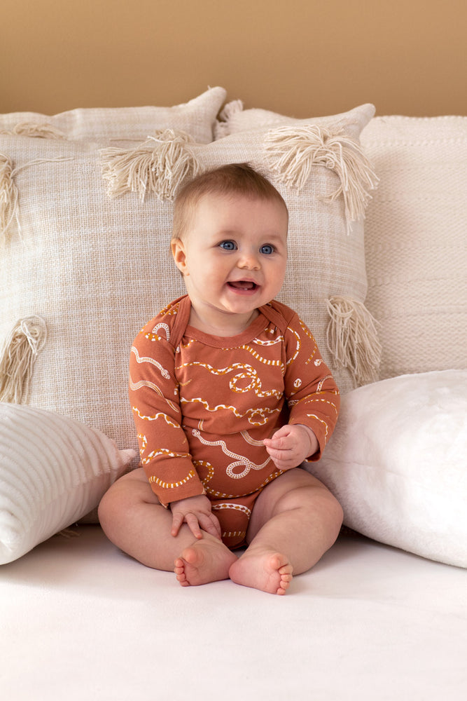 Snake Rainbow Organic Long Sleeve Onesie - Sunset