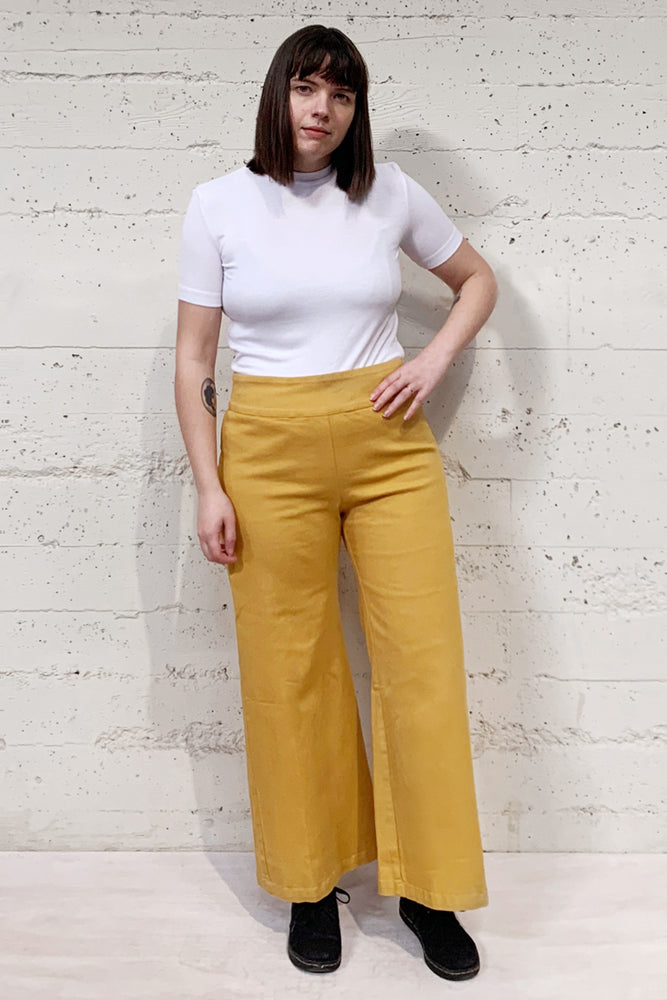 Denim Wide Leg Pants - Gold