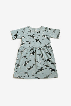 Orcas Organic Gathered Dress - Sea Mist