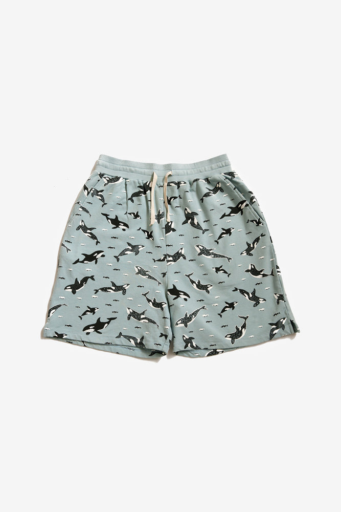 River Sweat Short - Sea Mist - Orcas Print