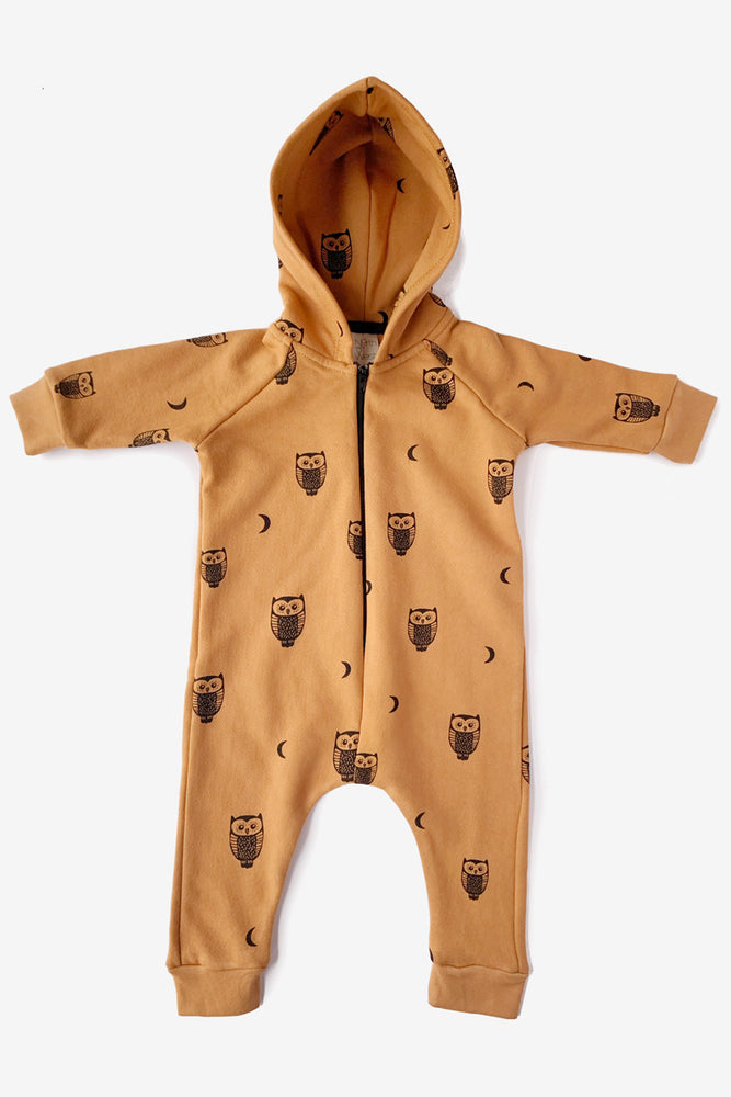 Owls and Moons Hooded Jumpsuit - Toffee