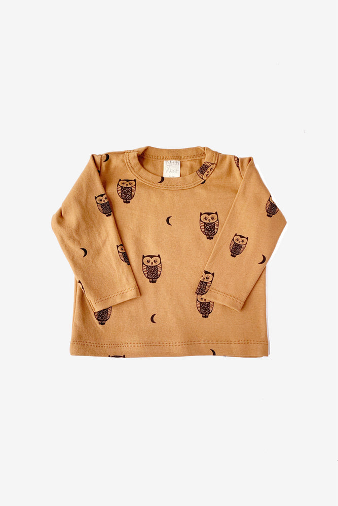 Owls and Moons Long Sleeve Tee - Toffee