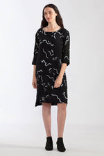 Painted Double Cloth 3/4 Dress - Black