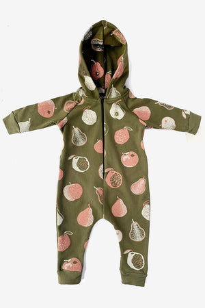 Apples and Pears Hooded Jumpsuit - Avocado