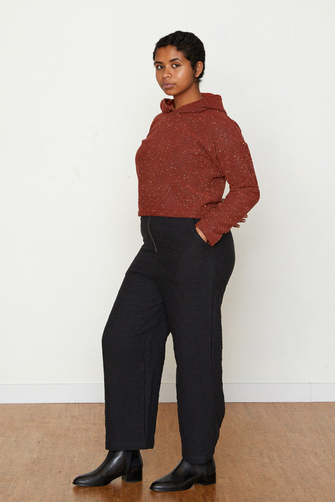 Pebble Knit Janet Cropped Hoodie - Ruby