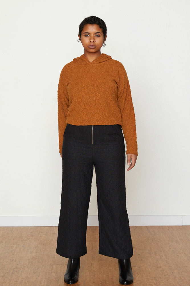 Pebble Knit Janet Cropped Hoodie - Toffee
