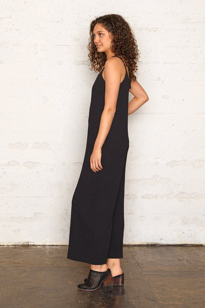 Pleated Crinkle Wide Leg Jumpsuit - Black