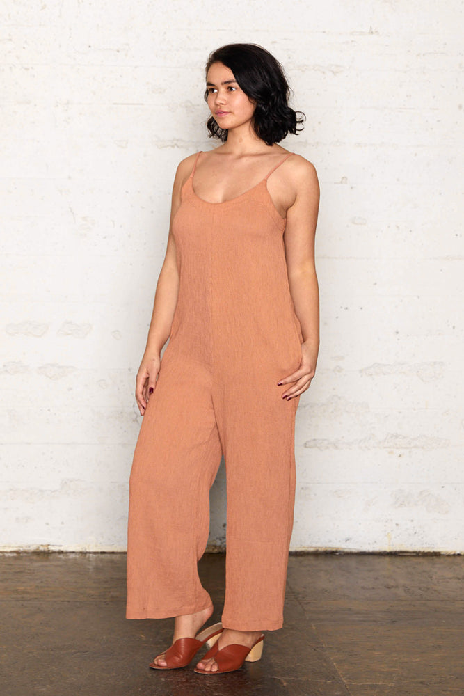 Pleated Crinkle Wide Leg Jumpsuit - Almond