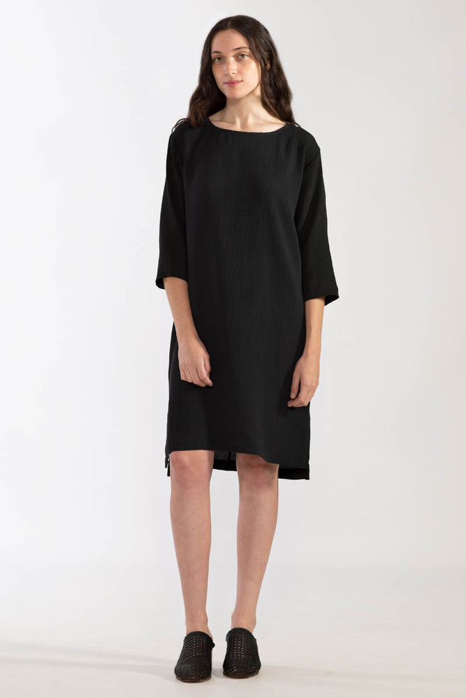 Pleated Crinkle 3/4 Dress - Black