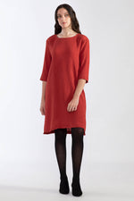 Pleated Crinkle 3/4 Dress - Ruby