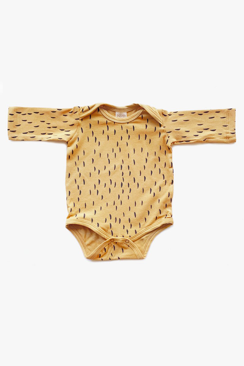 baad32ef4 Rain Long Sleeve Organic Onesie - Gold with Charcoal – North Of West