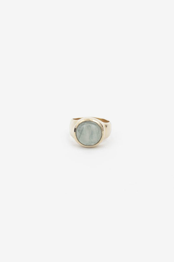 Rise Ring - Brass with Aquamarine