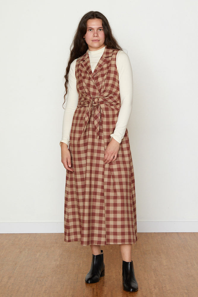 Emily Dress - Brick/Tan Check
