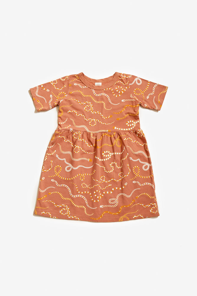 Snake Rainbow Organic Gathered Dress - Sunset