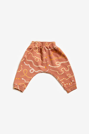 Snake Rainbow Organic Harem Pants - Sunset