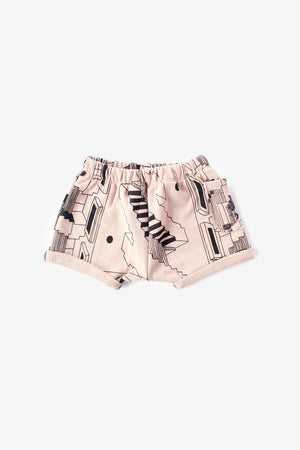 Steps Organic Sweat Shorts - Dusty Rose with Black