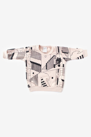 Steps Organic Crew Sweatshirt - Dusty Rose with Black