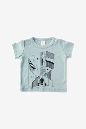Steps Organic Tee - Aqua with Black